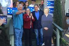 Hilary Clinton supporters, including state Sen. Kirk Watson, D-Austin and former Land Commissioner Garry Mauro, on hand at the Clinton headquarters in Austin on Feb. 15, 2016.