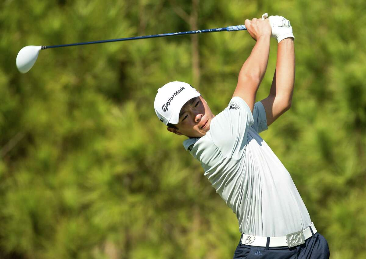 Andy Zhang, of Winter Garden, Fla., tees off on No. 18 during the final round of the AJGA CB&I / Simplify Boys Championship at Carlton Woods on Monday, Feb. 15, 2016, in The Woodlands. Zhang won the tournament at 13-under-par.