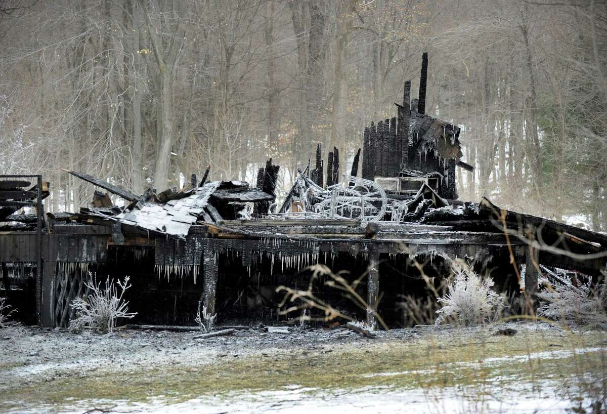 A home on Deer Hill Road in Sherman was totally destroyed by fire Saturday night. Photo Monday, February 15, 2016.
