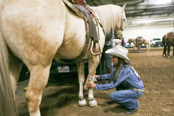 Barrel racer Jill Welsh from Parker, Arizona, who has battled illnesses from arthritis to cancer, puts leg guards on Custer, her 11-year-old palamino gelding, in the warm-up area before competing Sunday in the San Antonio Stock Show and Rodeo.