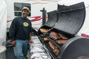 Kerry Fellows, cooking at the 2014 World s Championship Bar-B-Que Contest at the Houston Livestock Show and Rodeo at NRG Park. In 2013 his team, Across the Track Cook-off Team, took overall Grand Champion.