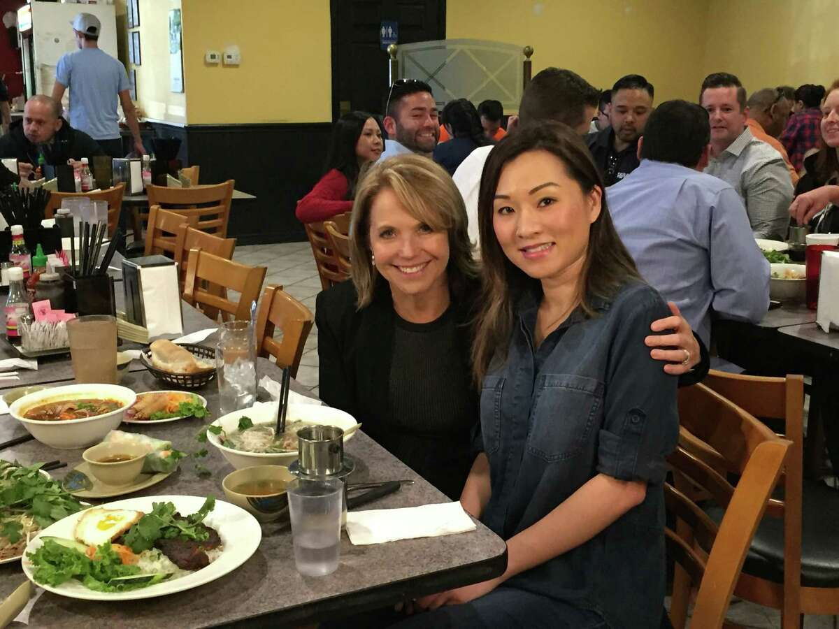 Katie Couric and Mechelle Tran at Pho Saigon.