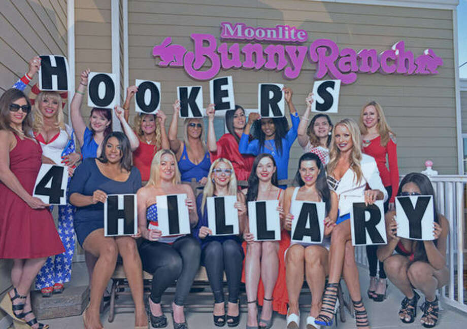 Hookers for Hillary, an organization of legal prostitutes from the Moon Lite Bunny Ranch in Nevada, has endorsed Hillary Clinton in the Nevada causes Feb. 20, 2016. Owner Dennis Hof organized the group, which has a four-point platform, in April, 2015. Photo: Hookers For Hillary