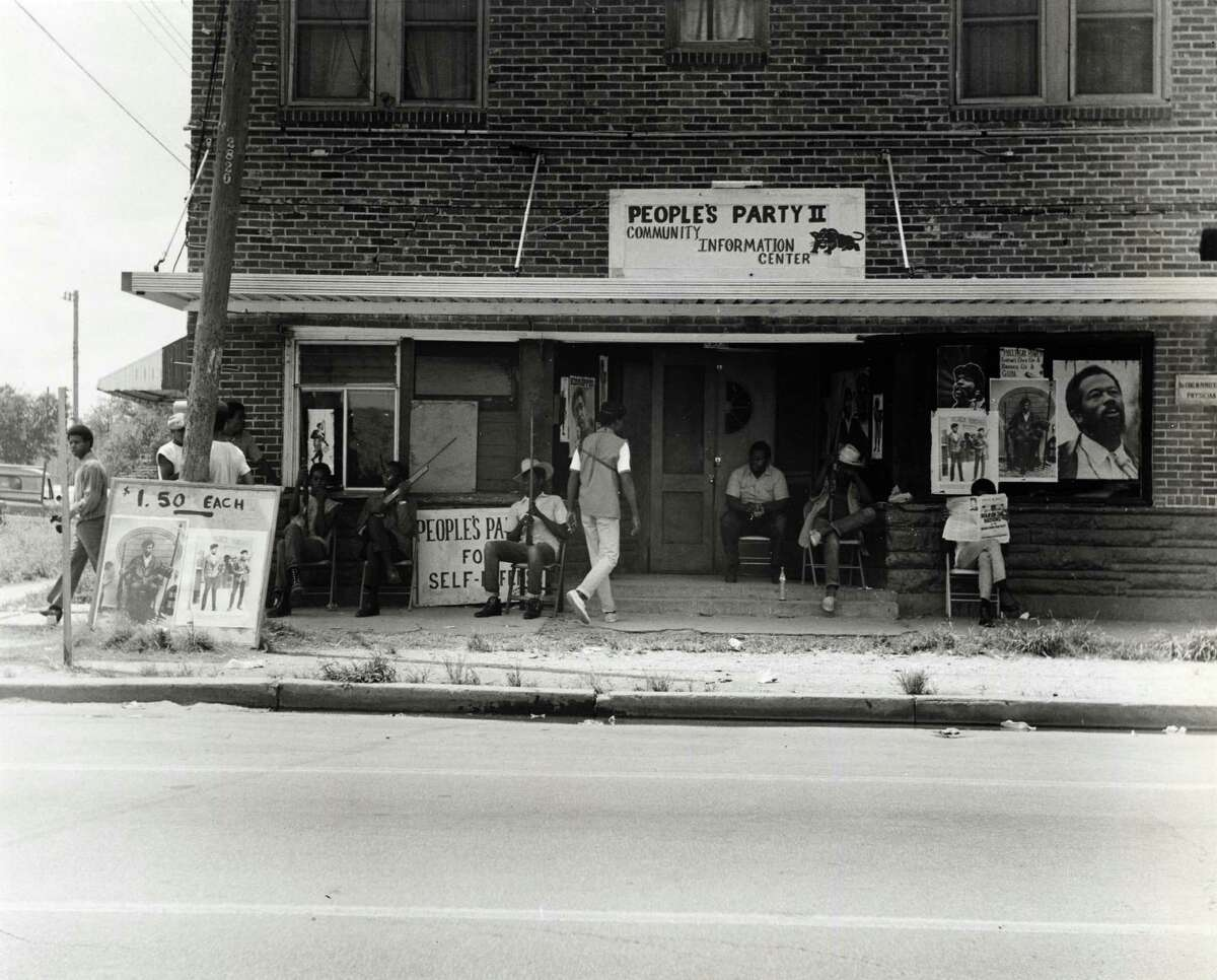 Scene outside People's Party II headquarters, 2828 Dowling St., before the gun battle on July 26, 1970.