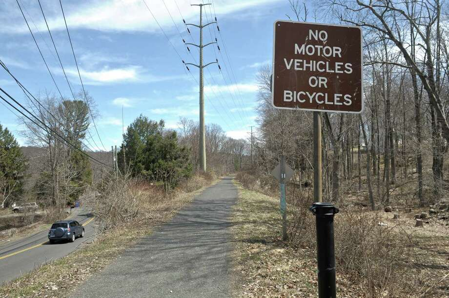 The Ridgefield Rail Trail runs 2.3 miles from downtown Ridgefield to the Branchville area of the town. Wednesday, April 15, 2015, in Ridgefield, Conn. Photo: H John Voorhees III / H John Voorhees III / The News-Times
