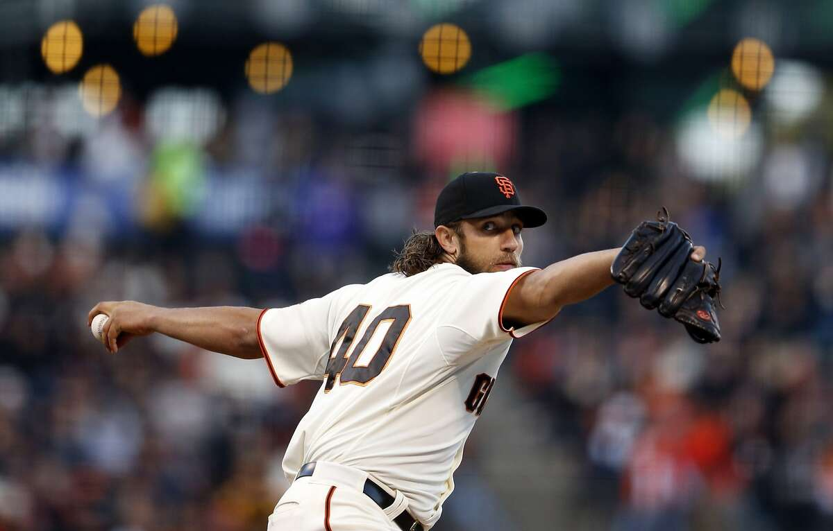 Madison Bumgarner pitches against San Diego Padres at AT&T Park in San Francisco in May 2015.