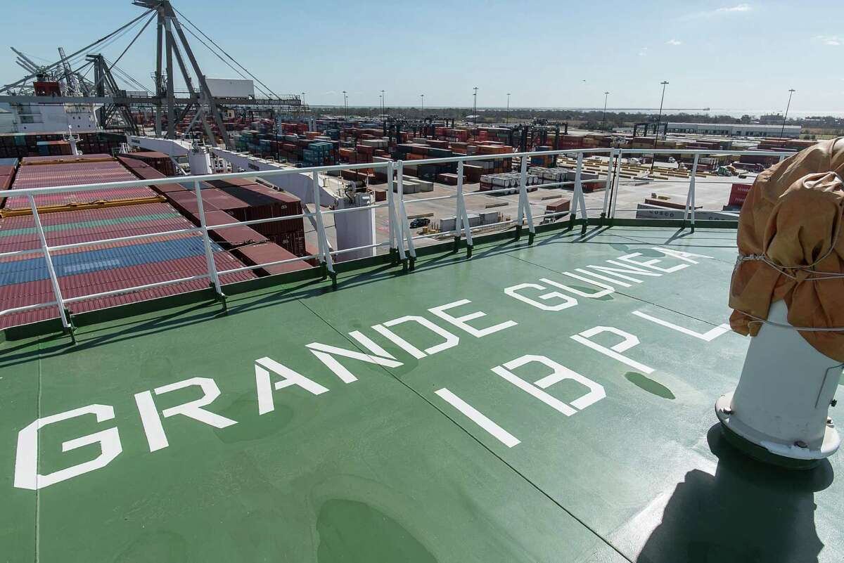 The Grande Guinea left Houston's Barbours Cut container terminal Friday loaded with containers, kicking off the first regular direct container and roll-on, roll-off shipping service between Houston and West Africa.