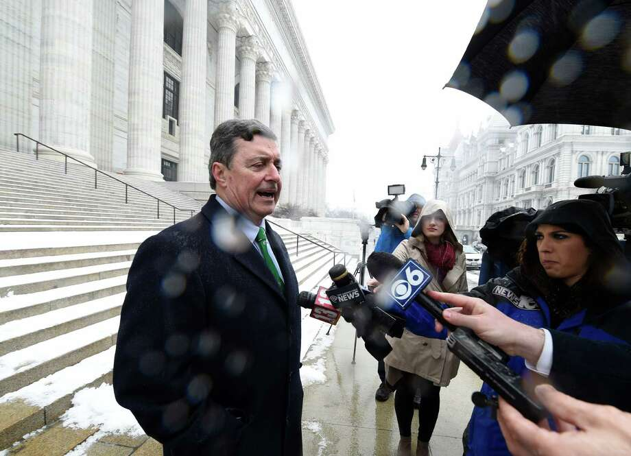 Albany County Comptroller Mike Conners addresses members of the media on the steps of the New York State Department of Education building Tuesday, Feb. 16, 2016, in Albany, N.Y.  (Skip Dickstein/Times Union) Photo: SKIP DICKSTEIN / 10035442A