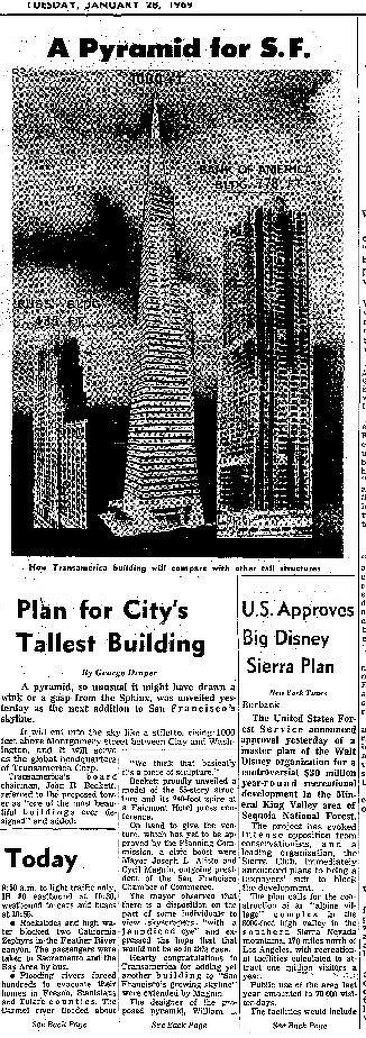 Transamerica Pyramid construction announced in 1969 There were some protests