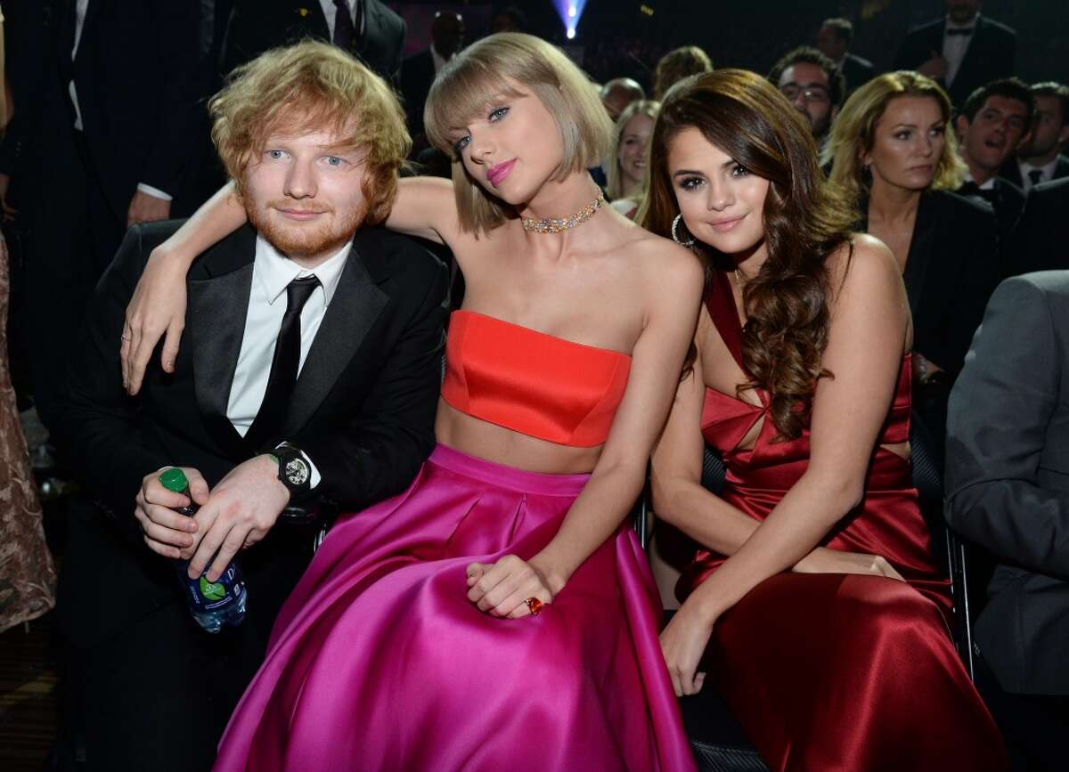 Ed Sheeran, Taylor Swift and Selena Gomez attend The 58th GRAMMY Awards at Staples Center on February 15, 2016 in Los Angeles.