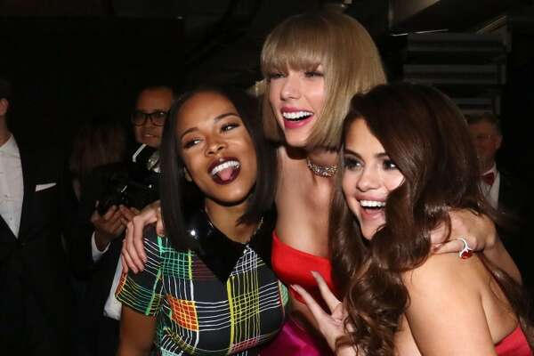 Actress Serayah McNeill, singer Taylor Swift and actress/singer Selena Gomez attend The 58th GRAMMY Awards at Staples Center on February 15, 2016 in Los Angeles.