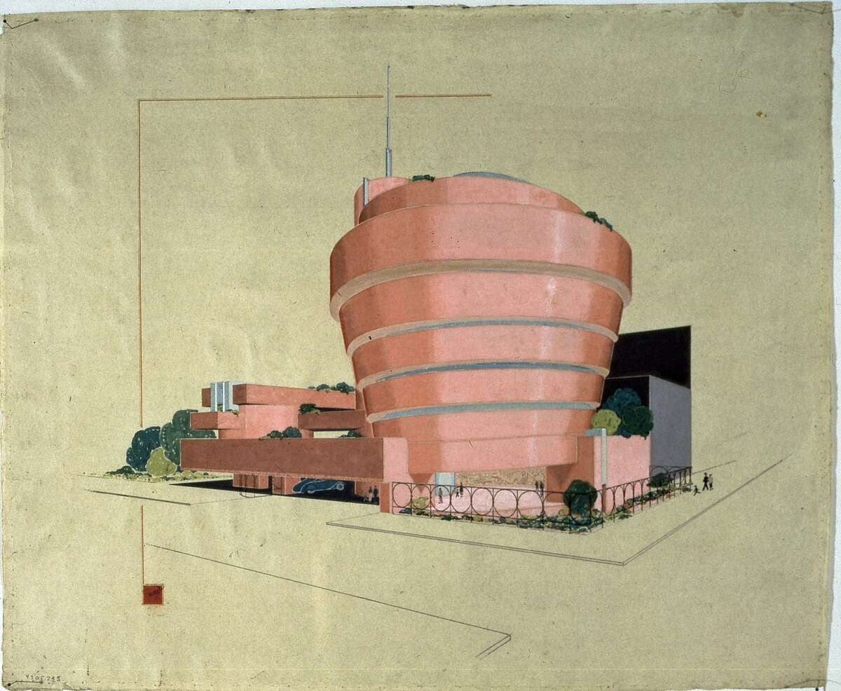 One of Frank Lloyd Wright's early visions for the Guggenheim Museum in New York was a spiral telescoping inwards - the reverse of what eventually was built.It also was red marble, rather than pale concrete.