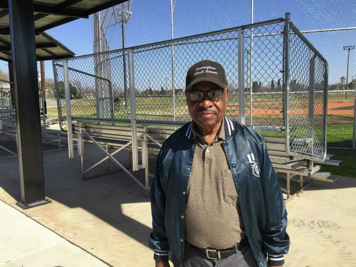 Everett Turner, former Negro League pitcher and shortstop locally, at Pittman-Sullivan Park,once the jewel park in the local Negro League baseball system. Now it's a city recreational field.