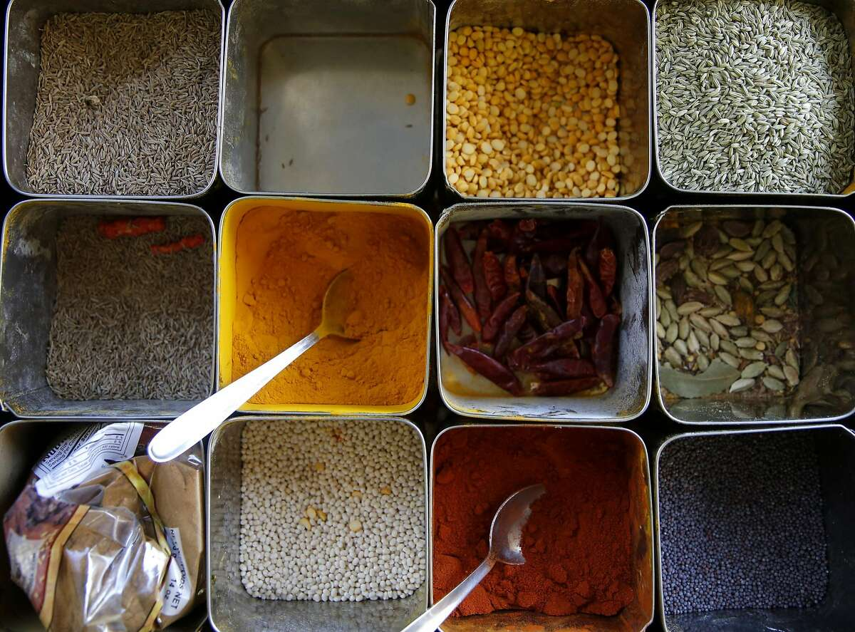 Rows of spices in containers at Kamakshi's Kitchen in San Carlos, California, on Tuesday, Feb. 16, 2016.