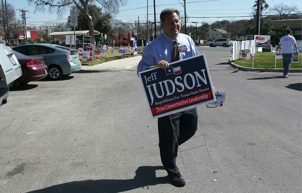 Republican candidate for the Texas House of Representatives District 121, Jeff Judson, campaigns at the Lion's Field voting site on the first day of early voting, Monday, Feb. 16, 2016. Early voting end on February 26 and the primary election is on March 1. Judson is running against incumbent and Speaker of the House Joe Straus. Also on the Republican ballot for District 121 is Sheila Bean. The Democrats don't have a candidate in their ballot.