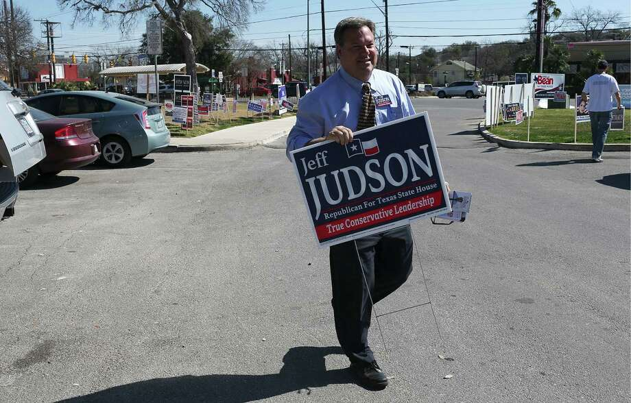 Republican candidate for the Texas House of Representatives District 121, Jeff Judson, campaigns at the Lion's Field voting site on the first day of early voting, Monday, Feb. 16, 2016. Early voting end on February 26 and the primary election is on March 1. Judson is running against incumbent and Speaker of the House Joe Straus. Also on the Republican ballot for District 121 is Sheila Bean. The Democrats don't have a candidate in their ballot. Photo: Jerry Lara, Staff / San Antonio Express-News / © 2016 San Antonio Express-News
