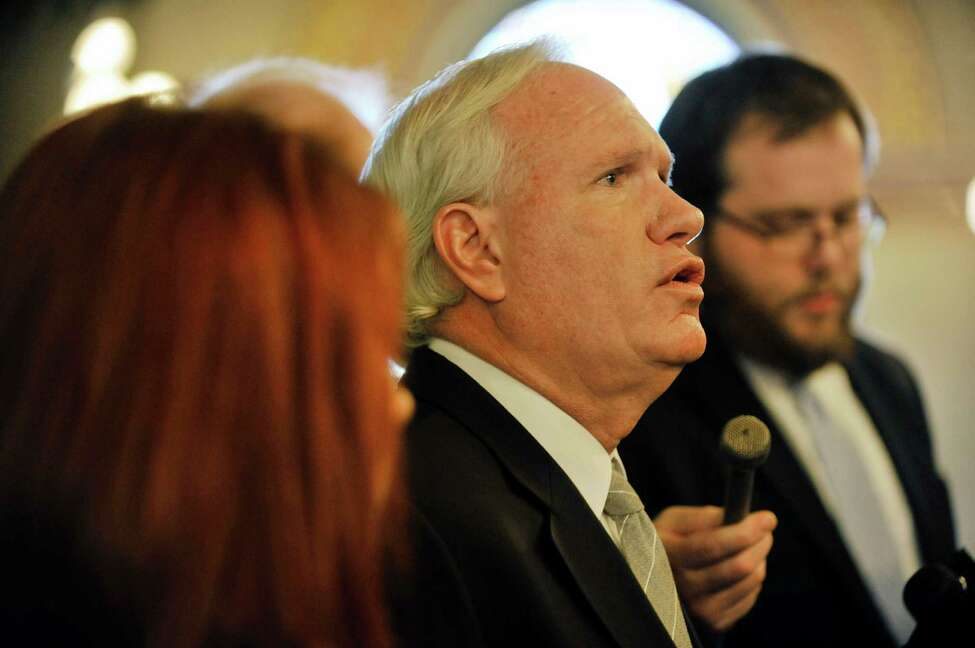 Senator Tony Avella, talks to members of the media outside the Assembly chambers on Monday, Jan. 11, 2016, in Albany, N.Y. (Paul Buckowski / Times Union)