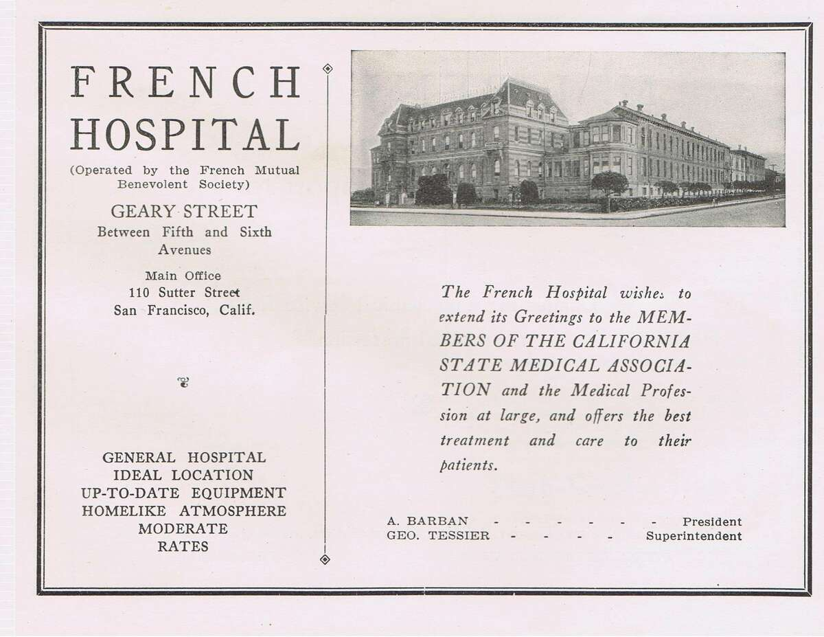French Hospital, current location of Kaiser, on Geary, between 5th and 6th Avenue in the Richmond District. Medical journal from 1924. From the collection of Bob Bragman