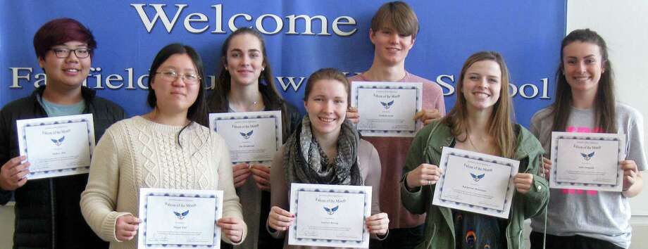 """Falcons of the Month"" cited at Fairfield Ludlowe High School for January include, from left, Anders Ohn, Jingyi Dai, Zoe Holderied, Lauren Revay, Damien Socia, Katherine Montanez and Julia Pangallo. Missing from the photo were: Eleanor Rowe, Phoebe Mount, Ana Fascenelli, Madison Burress, Shrihita Mediboina and Will Bonin. Photo: Contributed Photo / Contributed Photo / Fairfield Citizen"