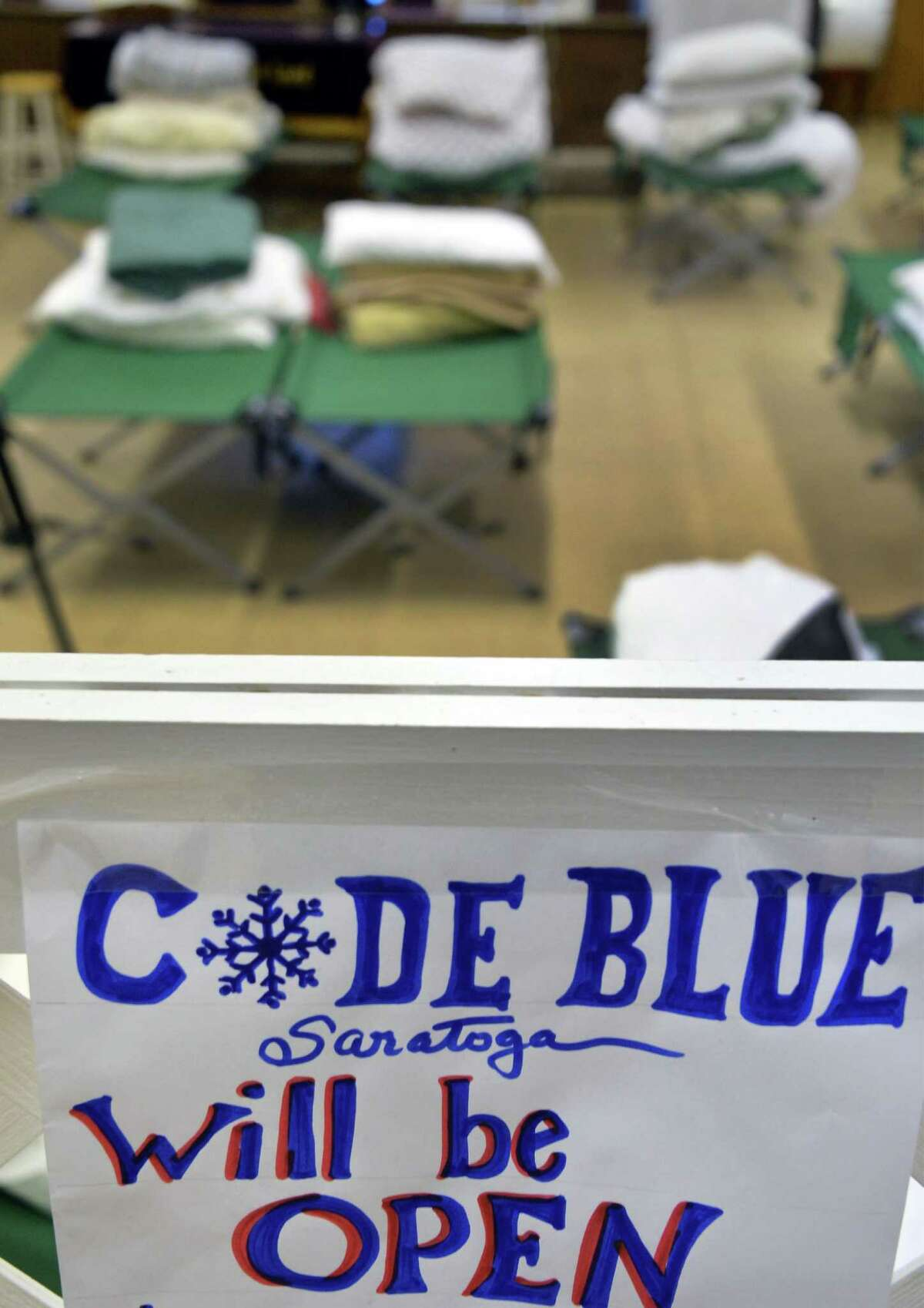 Code Blue Saratoga bedding in the worship center at the Salvation Army Tuesday Feb. 16, 2016 in Saratoga Springs, NY. The code blue shelter is now at 4 Adelphi St. in Saratoga Springs. (John Carl D'Annibale / Times Union)