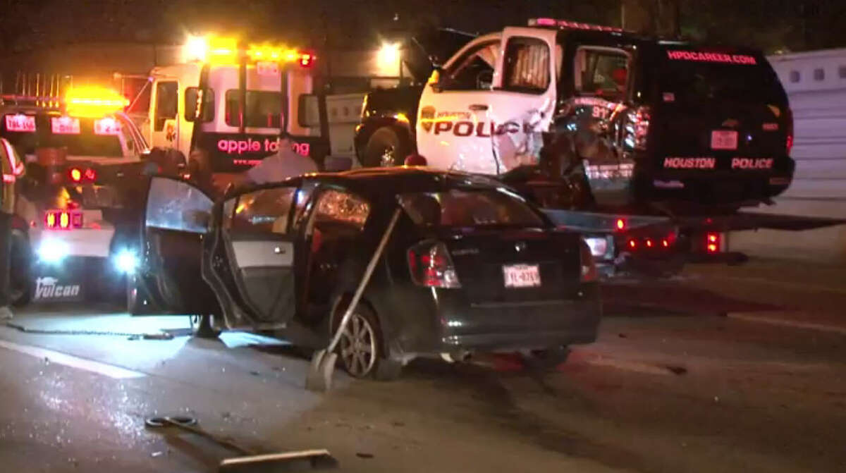 A fatal motorcycle crash on Feb. 16, 2016, led to two other crashes involving police squad cars and one injured officer on Interstate 10 near the 610 Loop.
