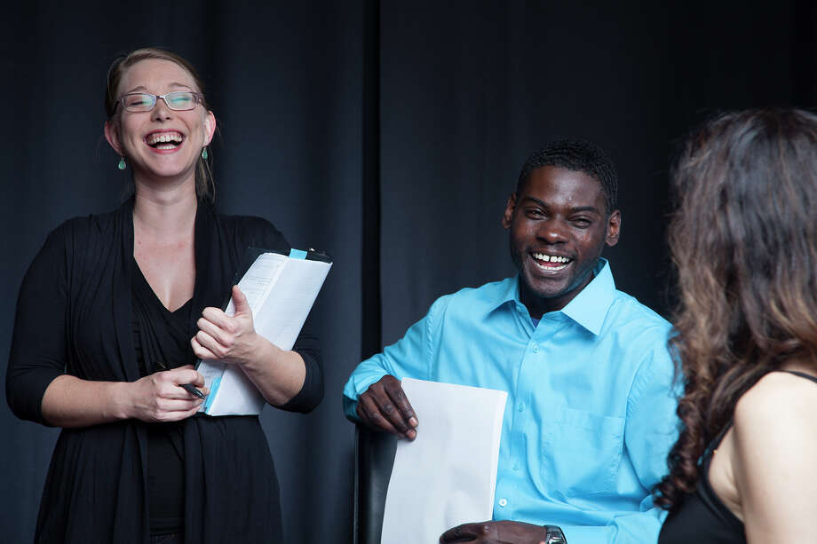 """Director Jacey Little, left, and actor Atseko Factor share a laugh with playwright Cressandra Thibodeaux, while rehearsing """"Dialogues on Grace,"""" a presentation designed to cause audience members to think about grace and forgiveness. Photo: Courtesy"""