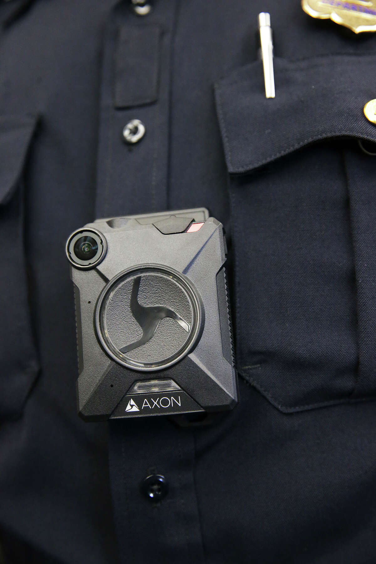 Sgt. Adam Zeldes displays the equipment as Chief William McManus and the SAPD reveal the new body camera to be worn by its officers during a demonstration session Wednesday morning at the Police Academy on February 17, 2016.