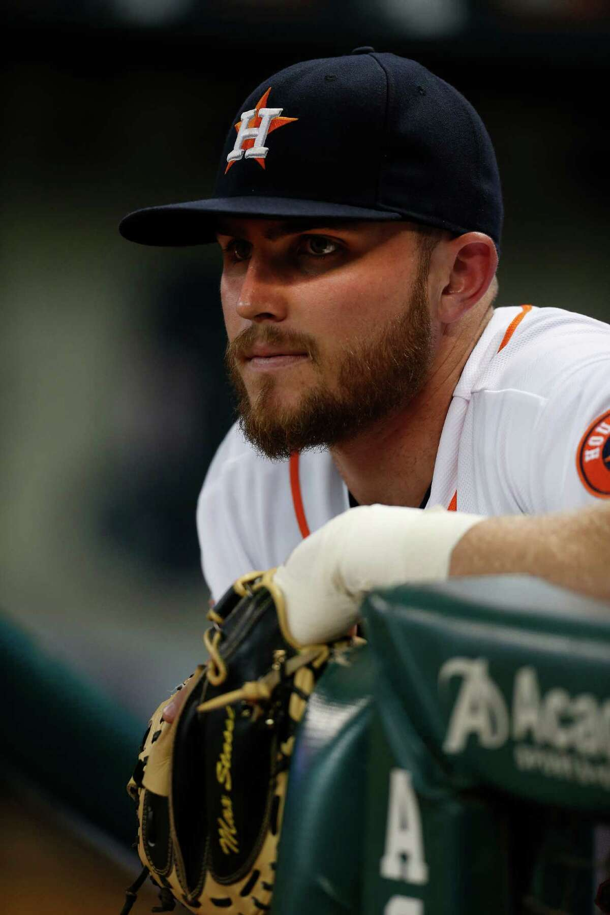 Houston Astros catcher Max Stassi (12) before the start of the first inning of an MLB game at Minute Maid Park on Monday, Sept. 21, 2015. ( Karen Warren / Houston Chronicle )