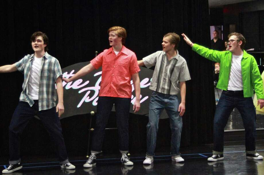 "Second Baptist students Jason Daniels, Elijah Adickes, Jim Beauchamp, Joseph Bolling  perform ""Greased Lightnin."" Photo: Randol Wilson"
