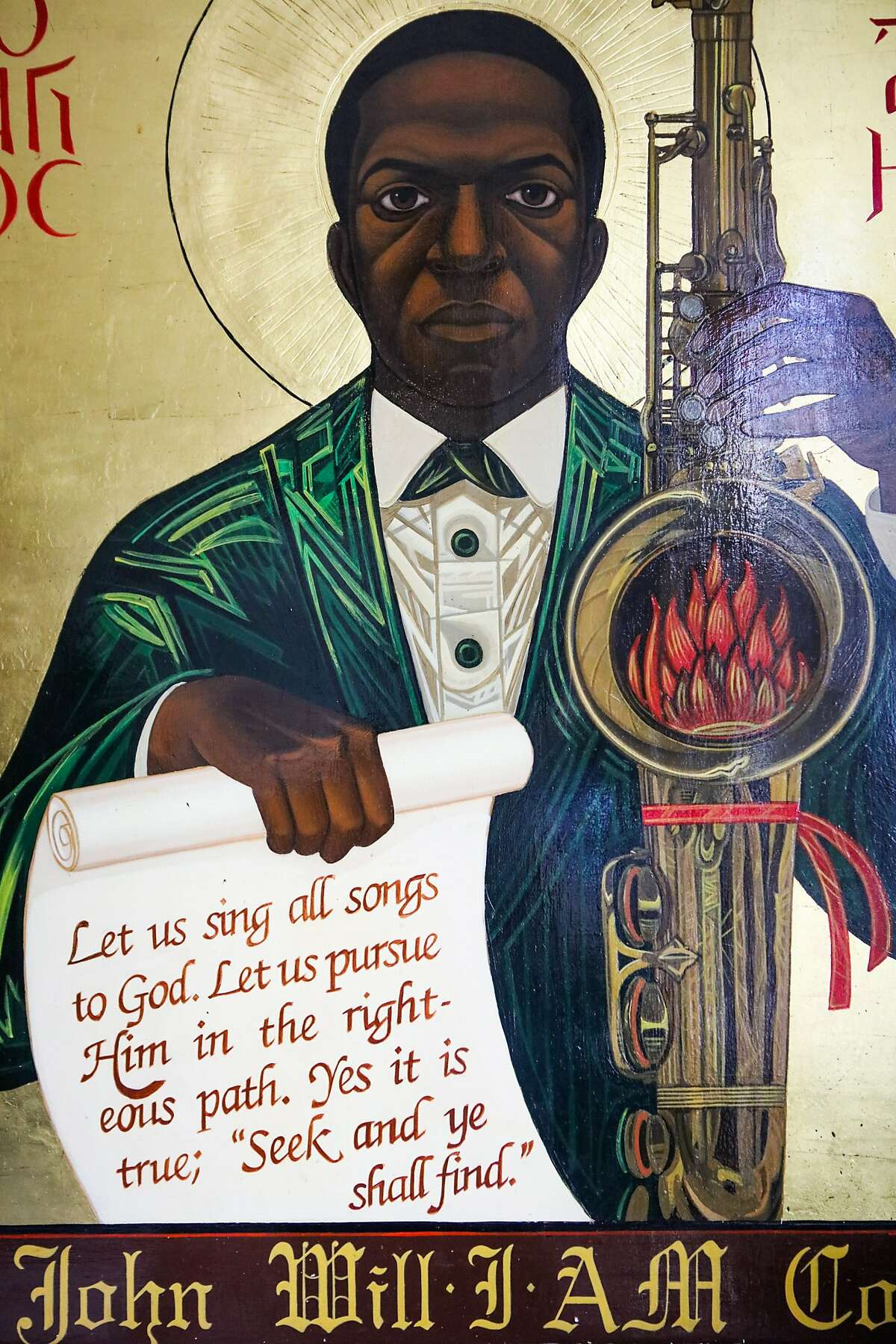 A painting by Reverend Mark Dukes, of John Coltrane, sits on the wall of the St. John Coltrane African Orthodox Church in San Francisco, California on Wednesday, February 17, 2016.