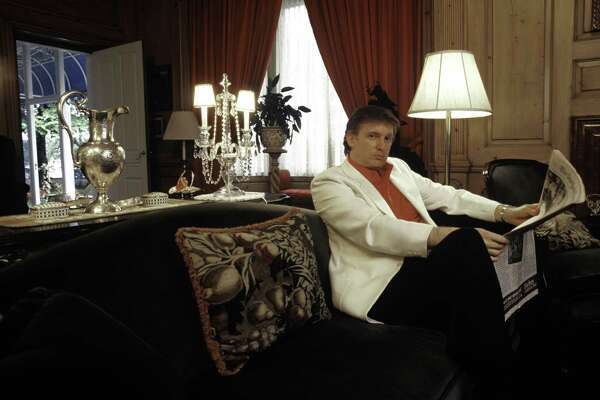 GREENWICH, CT- AUGUST 1987: Donald Trump, real estate mogul, entrepreneur, and billionare, relaxes at his  home on August 1987 in Greenwich, Connecticut.