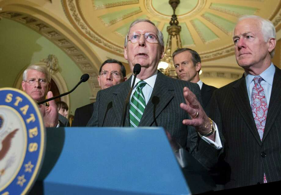 Senate Majority Leader Mitch McConnell of Ky., joined by, from left, Sen. Roger Wicker, R-Miss., Sen. John Barrasso, R-Wyo., Sen. John Thune, R-S.D. and Senate Majority Whip John Cornyn, R-Texas, talks to reporters on Capitol Hill last week. McConnell claimed the era of dysfunction in the Senate is over. But that is questionable. Photo: J. Scott Applewhite /Associated Press / AP