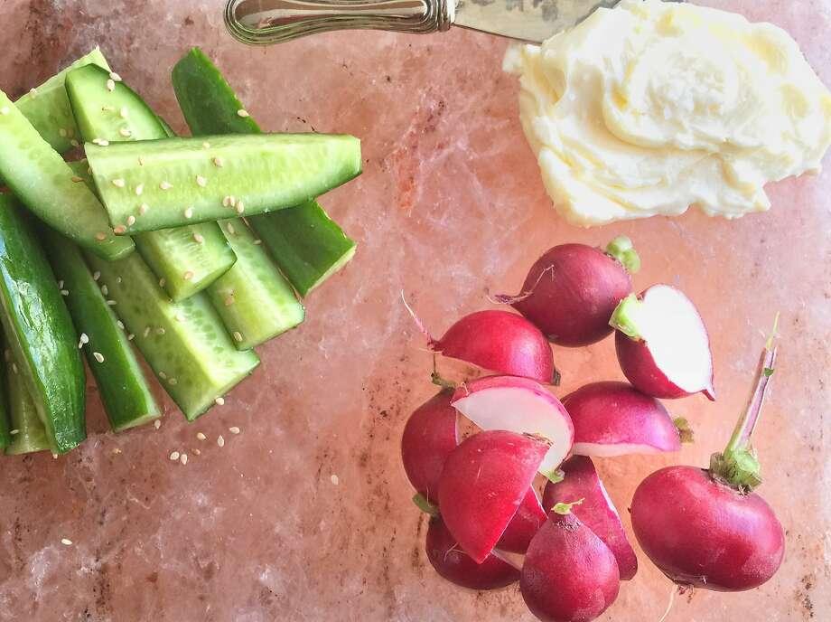 Use porous vegetables like cucumbers and radish on a salt block. Photo: Amanda Gold