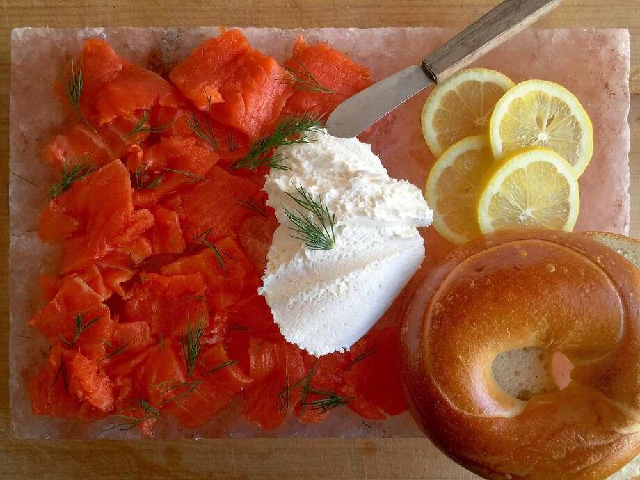 Arrange a salmon platter for weekend bagels on a salt block. Photo: Amanda Gold