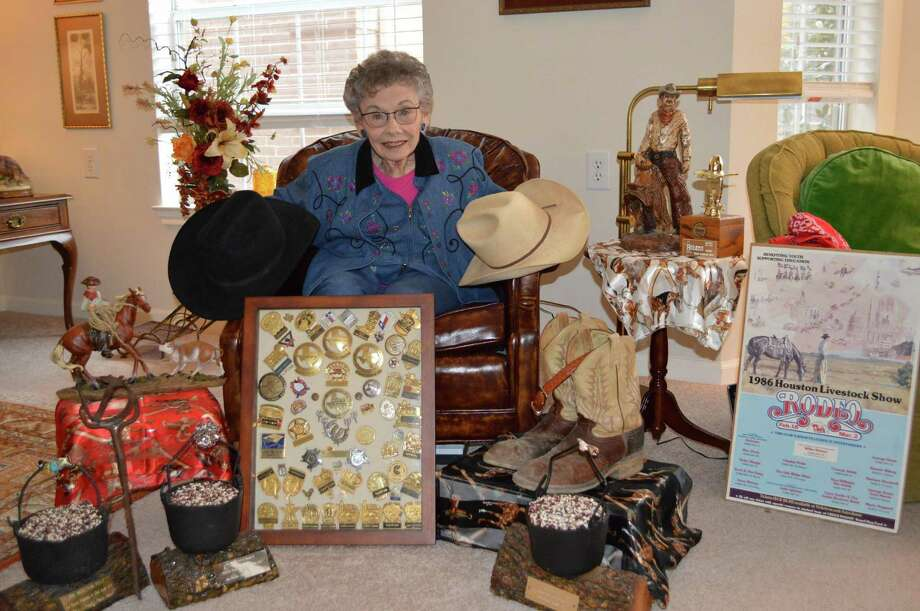 Rodeo memorablia adds to the festivity at Parkway Place. The items come from resident Dorothy Harbison's son, Charles, who died in July 2015 at 68. This year, Harbison will display cowboy sculptures from the collection outside her door.