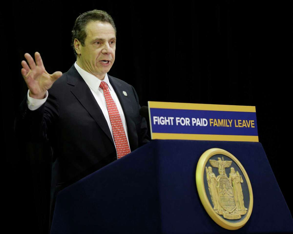 New York Gov. Andrew Cuomo speaks during a rally for paid family leave in New York, Wednesday, Feb. 17, 2016. (AP Photo/Seth Wenig)