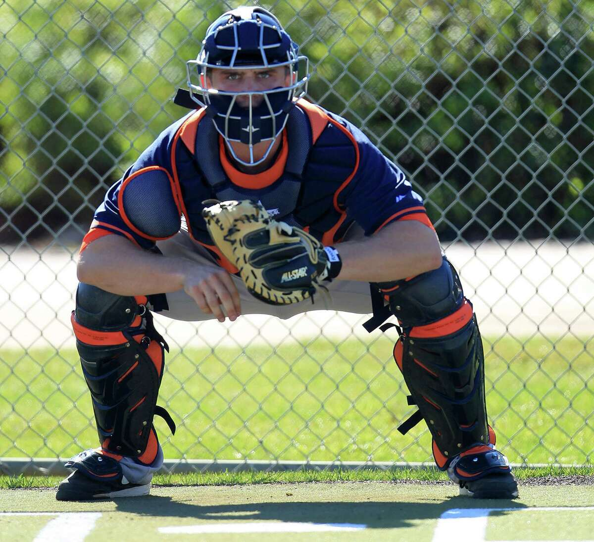 """Of Max Stassi, Astros manager A.J. Hinch says, """"We're going to ... make sure that his mechanics behind the plate are where they should be."""""""