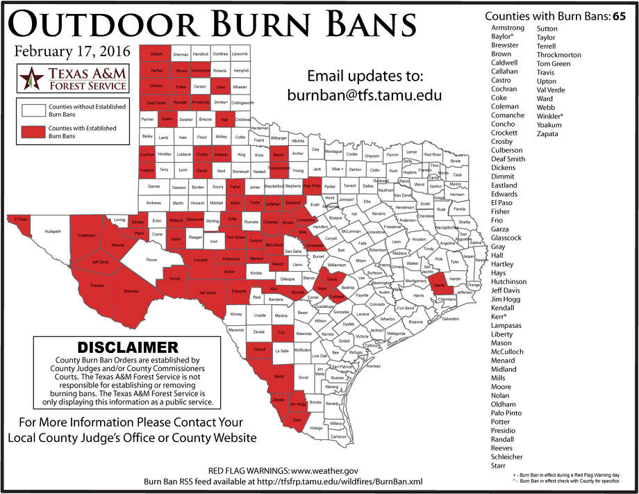 Texas counties under a current burning ban on Feb. 18, 2016 according to the Texas Forest Service. Photo: Courtesy Texas Forest Service