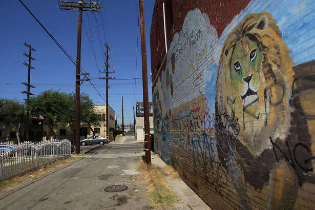 LOS ANGELES, CA - SEPTEMBER 04:  A mural of a lion overlooks an ally near that runs along Western Avenue, an area where an elusive serial killer has been dumping bodies since 1985, on September in the South Los Angeles neighborhoods of Los Angeles, California. Police have linked a lone killer to at least 11 murder victims whose bodies were dumped near Western Avenue, mostly in allies, over the past 23 years with DNA and ballistics analysis. Detectives are also investigating nearly three dozen addition cases with similarities to these slayings. With the exception of one male victim, the Grim Sleeper, as some reporters are calling the suspect, targets young black women whom he shoots and rapes. One woman, known as Victim Number 9, survived after the suspect shot then raped her before relenting to her plea to let her fall out of his car. Bullets removed from her chest matched a gun used on eight prior victims. A half-million dollar is being offered for information leading to his arrest and conviction.