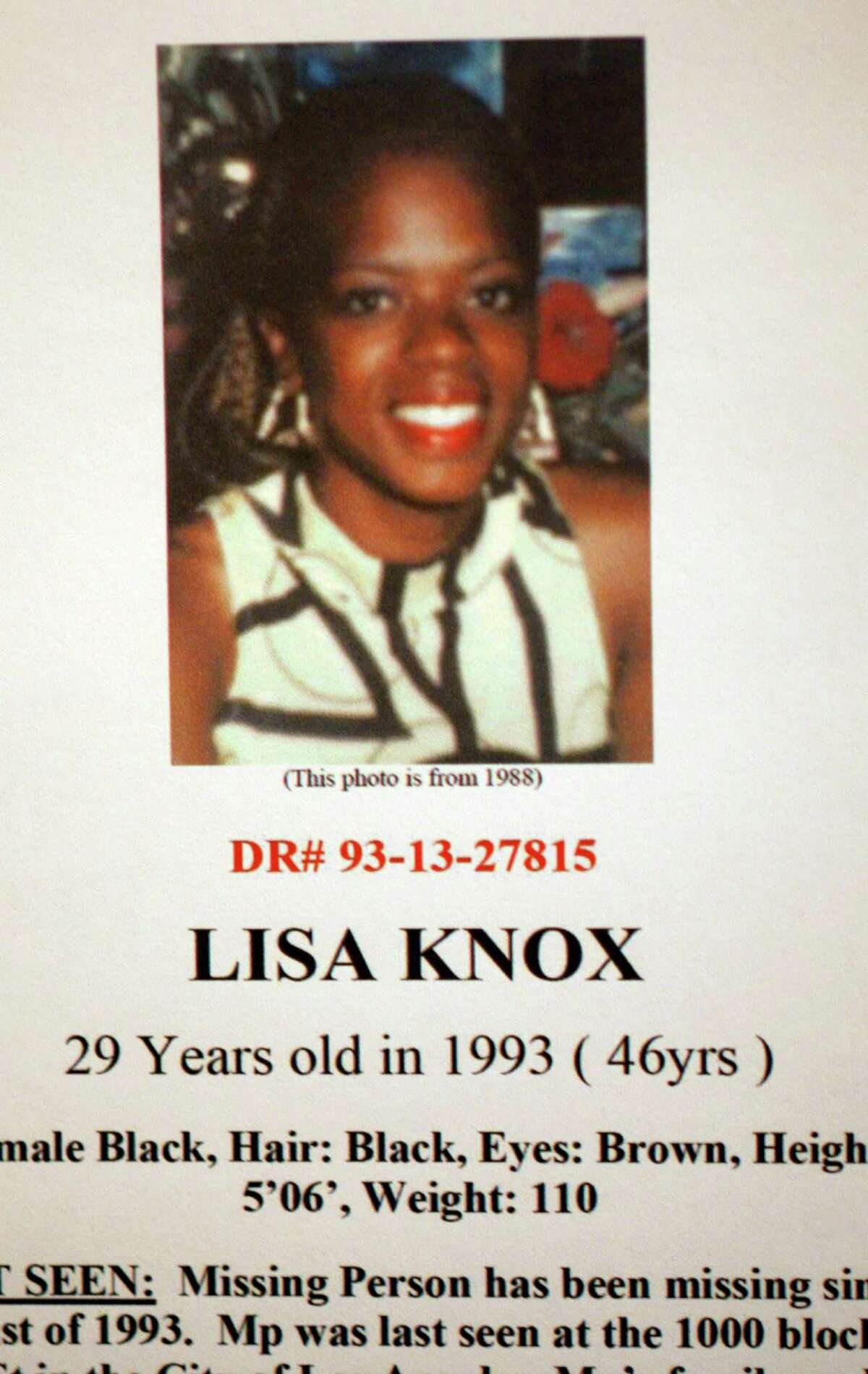 Lisa Knox is one of eight new possible victims in the Lonnie Franklin Jr serial killer Grim Sleeper case. She has been missing since August, 1993. Los Angeles Police Dept detective provided some new information regarding the ongoing investigation ofthe well?-known