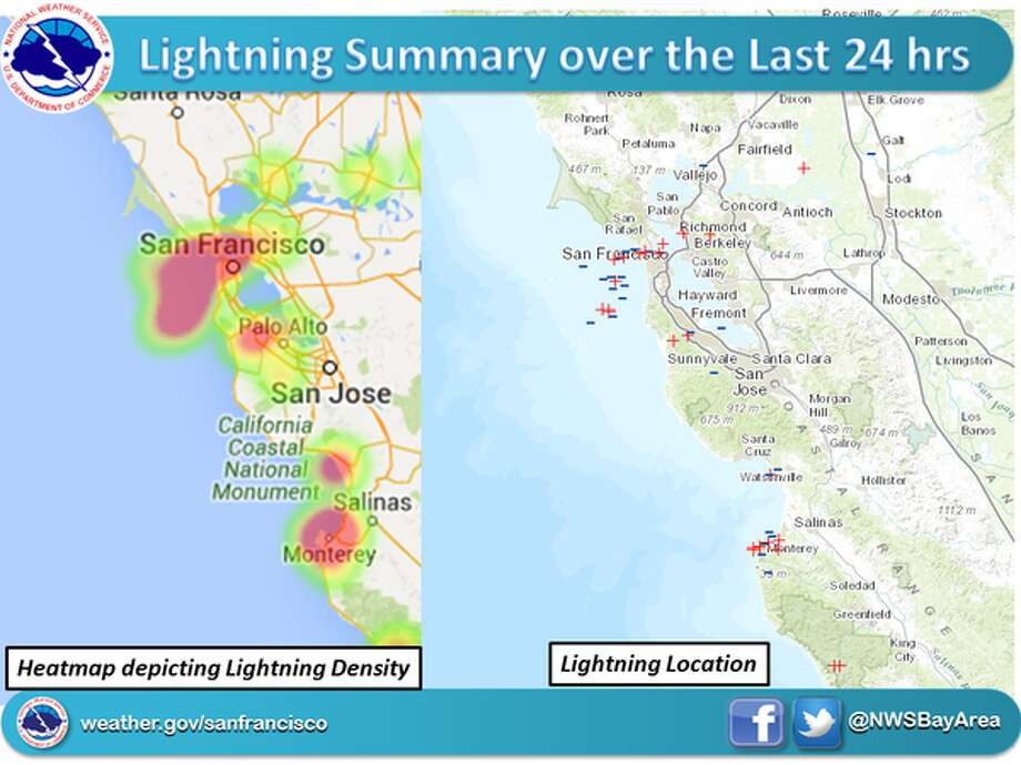 This map from the National Weather Service shows lightning strikes in the Bay Area on Wednesday, Feb. 17 and Thursday, Feb. 18, 2016. Photo: National Weather Service