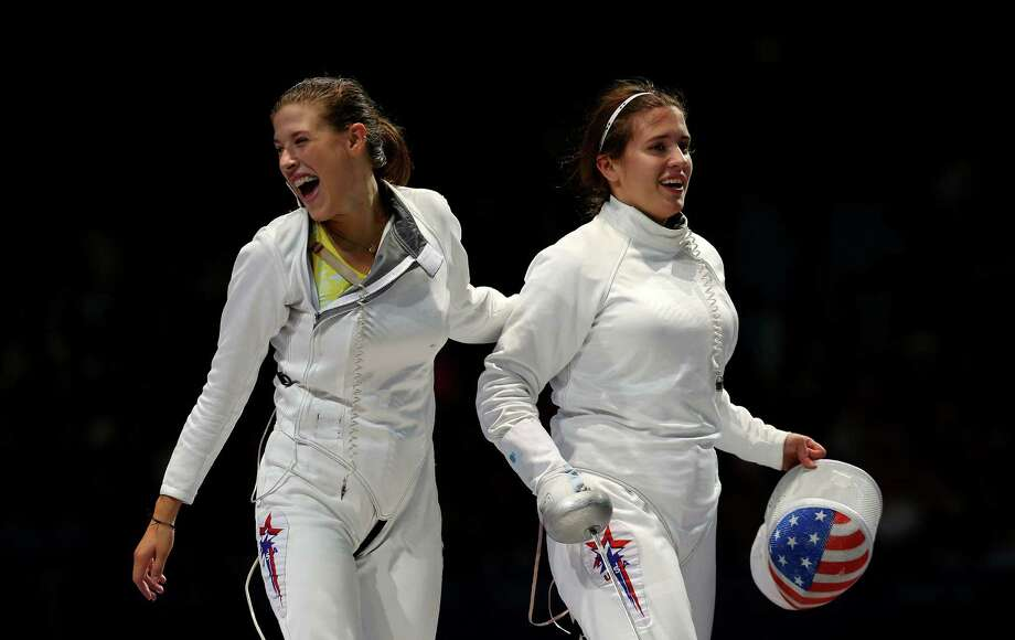 Courtney Hurley (right) and Kelly Hurley were part of the U.S. women's epee team that won a bronze medal at the London Games, Photo: Hannah Johnston, Getty Images / 2012 Getty Images