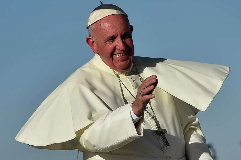 Pope Francis smiles upon arrival at the US border, before celebrating mass at the Ciudad Juarez fairgrounds on Wednesday. His message on a number of fronts should have resonated with two countries. Photo: GABRIEL BOUYS /AFP / Getty Images / AFP