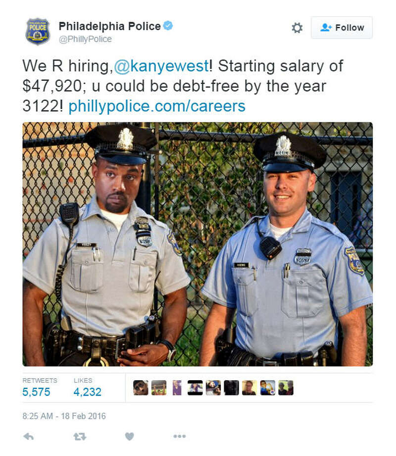 The Philadelphia Police Department gives Kanye West a job lead after the rapper admitted to being $53 million in debt. Click the gallery to see all the celebrities who showed up to his latest clothing line launch.