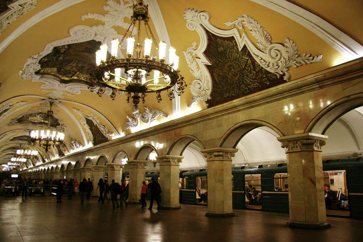 Komsomolskaya station: Moscow, Russia Moscow's metro is famous for its incredible stations. Komsomolskaya is probably its best known, decorated with Baroque frescoed ceilings, chandeliers and art nouveau benches. The station opened in 1952 and is dedicated to the Russian fight for freedom through a series of eight historical mosaics.