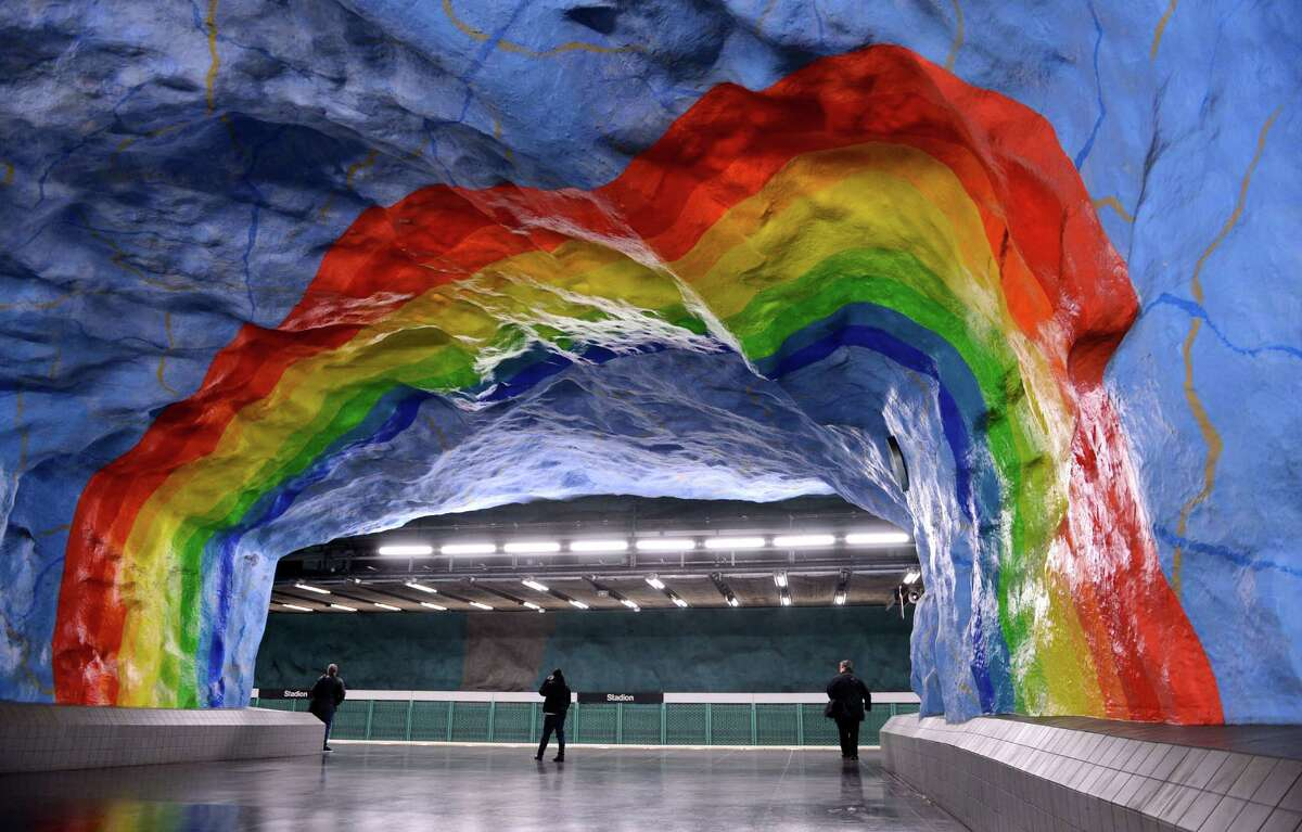 Stadion station: Stockholm, Sweden Artists Enno Hallek and Ake Pallarp painted Stadion station in 1973 and their simple but striking rainbow is one of the metro's most popular works. Over 90 of the 100 subway stations in Stockholm have been decorated by over 150 artists.
