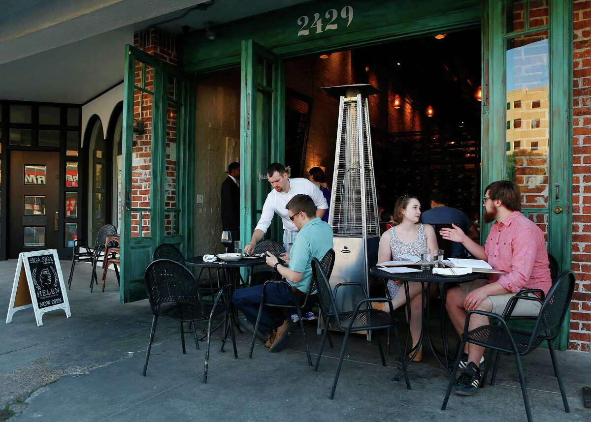 You can dine outside without threat of heat stroke It's safe, yet again, to eat outside on the patio. Click here to check out our list of the best patio restaurant in Houston, like Helen Greek Food and Wine in Rice Village (pictured above).