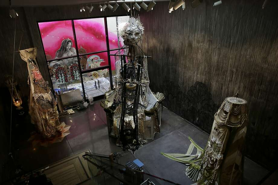 """Three witches are seen as part of """"Witch-Wife"""" a joint show by Swoon and Monica Canilao at Chandran Gallery in San Francisco, California, on Thursday,  February 18, 2016. Photo: Lea Suzuki, The Chronicle"""