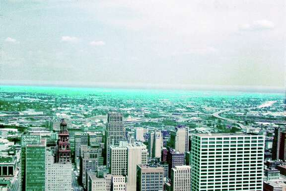 A view of downtown Houston, looking north, in 1964 from the top of the Exxon building at 800 Bell.  (Evert Crawford)