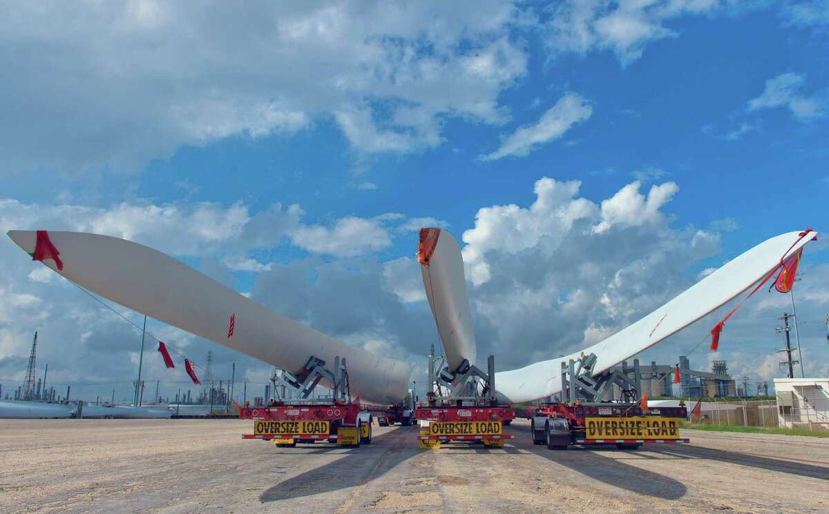 Wind turbine blades wait to be transported at the Port of Corpus Christi. Taking such blades to their destinations can take days and cost tens of thousands of dollars.
